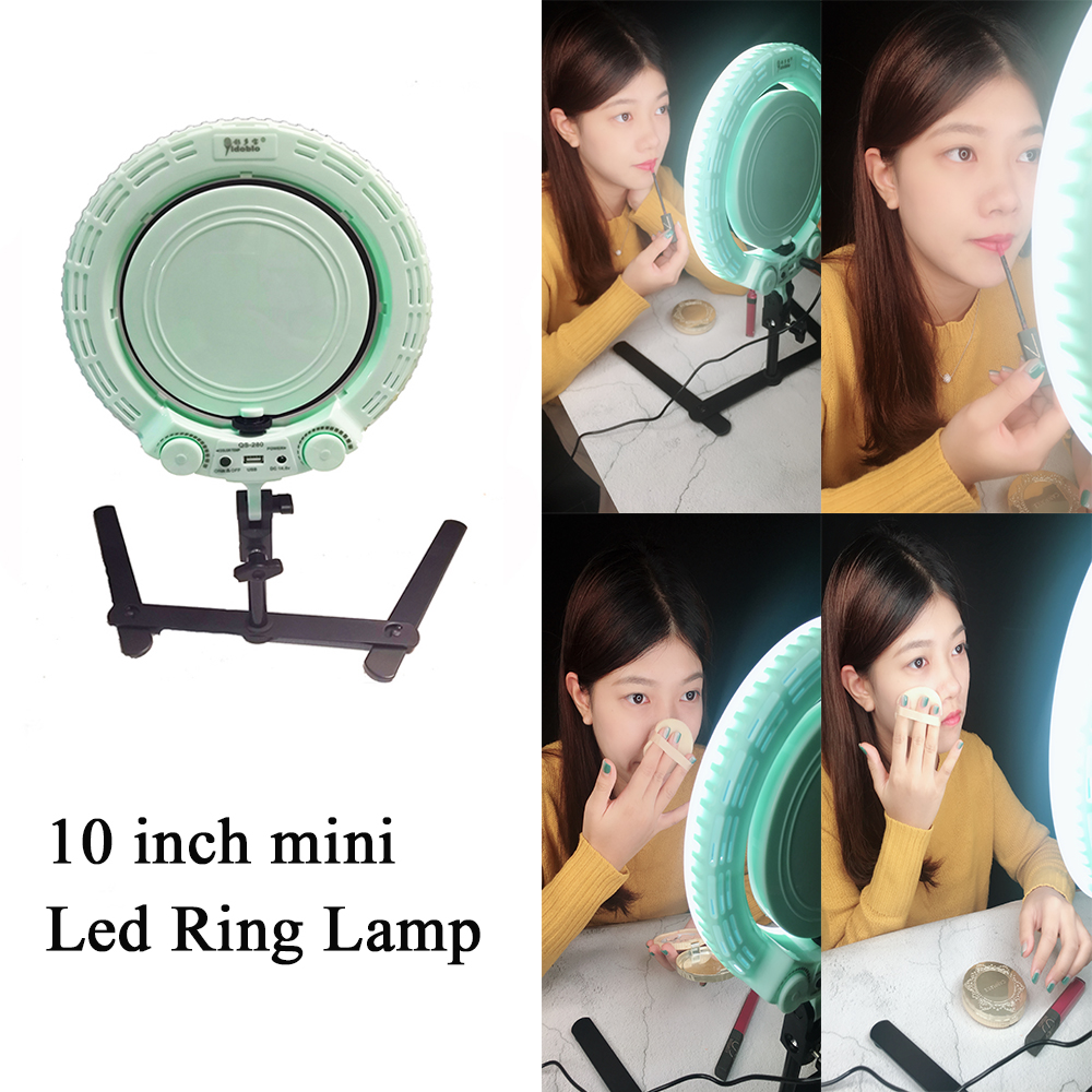 Yidoblo QS280 Mini Photo Studio LED Camera Ring Light Dimmable Phone Video Lamp Fill Light+ table stand for Live Makeup Lighting