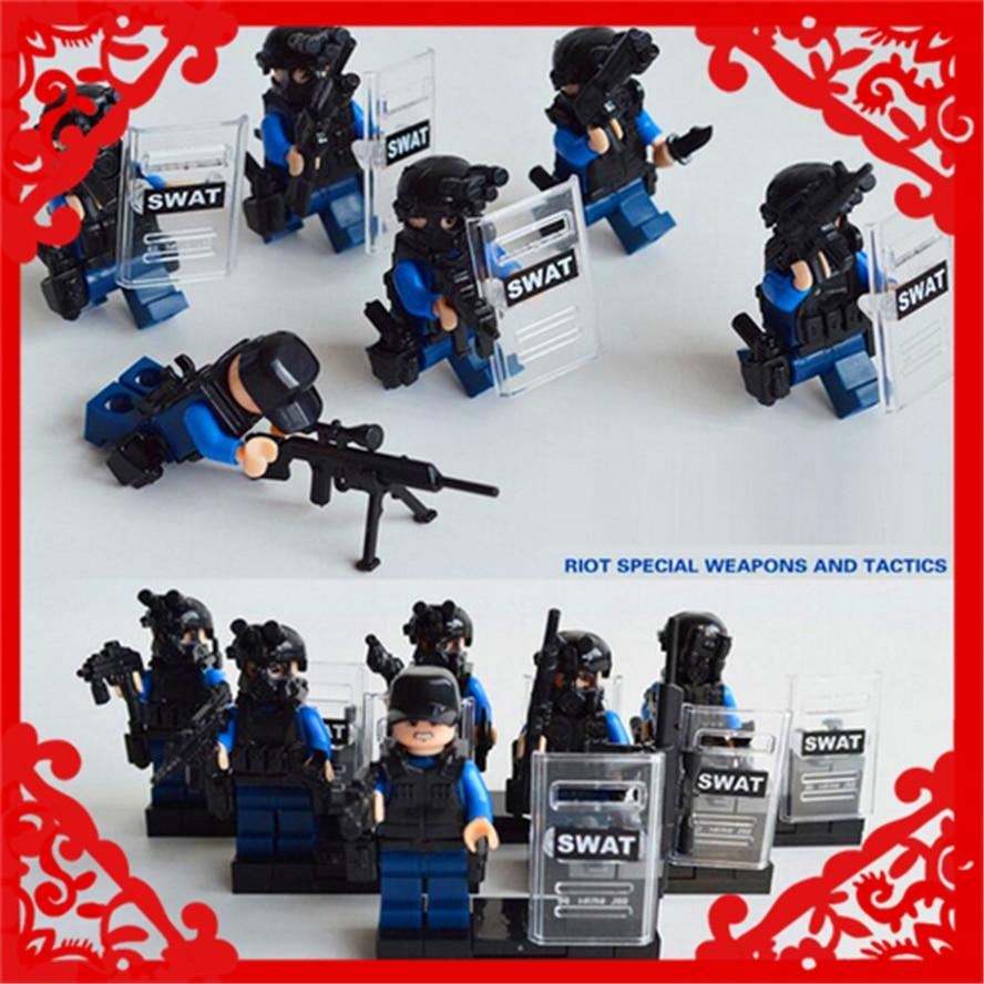 Police SWAT CS Army Soldier Weapon Gun Building Block Toys Compatible Legoe KAZI 84033 6Pcs/Set Figure Brinquedos For Children kazi 560 pcs city war x agents armor chariot car model mech robot building block kids toys gift brinquedos compatible with legoe