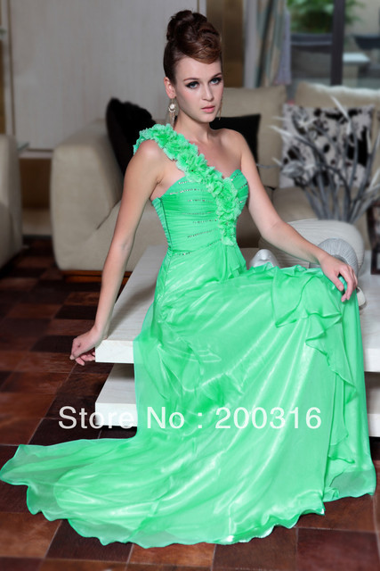 New arrival one shoulder sleeveless bead green fashion evening dresses  Free Shipping By Ems 2013 new evening dress