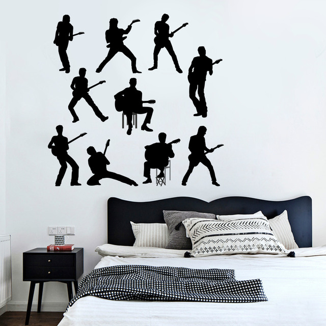 10 person music band wall stickers for boys room living room bedroom home decor 3d vinyl