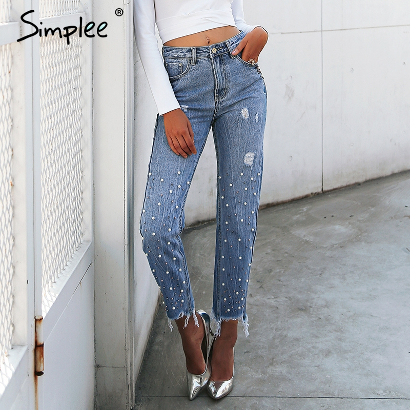 Simplee Pearl tassels blue high waist jeans female Streetwear pocket casual jeans 2018 Summer denim pants women bottom bazaleas flower embroidered mom jeans female blue casual pants capris spring pockets jeans bottom casual pant