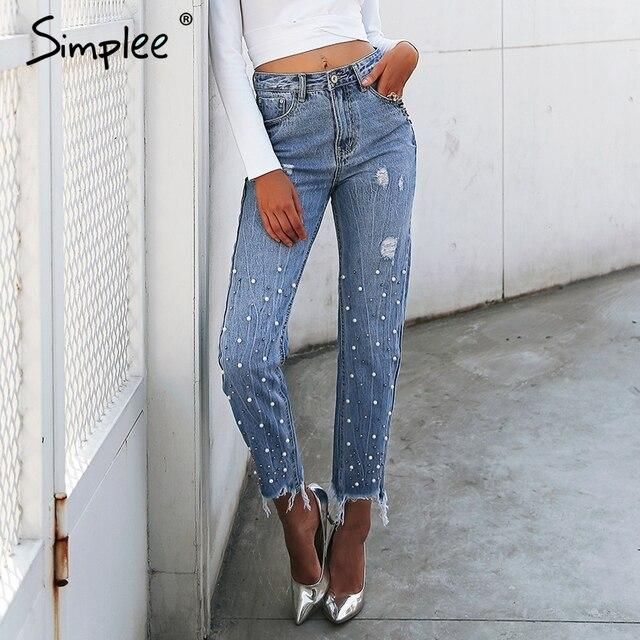 Simplee borlas de Perla Azul Pantalones vaqueros de cintura alta Mujer  Streetwear bolsillo pantalones casuales de c8613fca0363