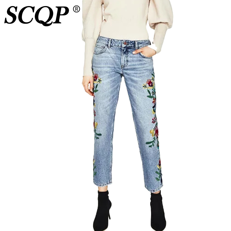 ФОТО SCQP Embroidery Floral Womens Jeans Denim Ladies Blue Loose Femme Jeans Flowers Pockets Fashion Elegant 2017 Woman Trousers