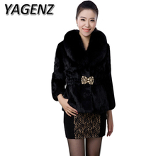 YAGENZ2017 Winter Women fur Jacket Elegant Thicken Warm Faux Fox collar Overcoats Large size Faux Rabbit Slim Black Fur Coat 6XL