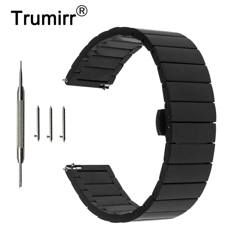 20mm Montre En Acier Inoxydable Bande Sangle De Dégagement rapide pour Ticwatch 2 42mm Papillon Boucle Poignet Ceinture Bracelet Noir or Argent
