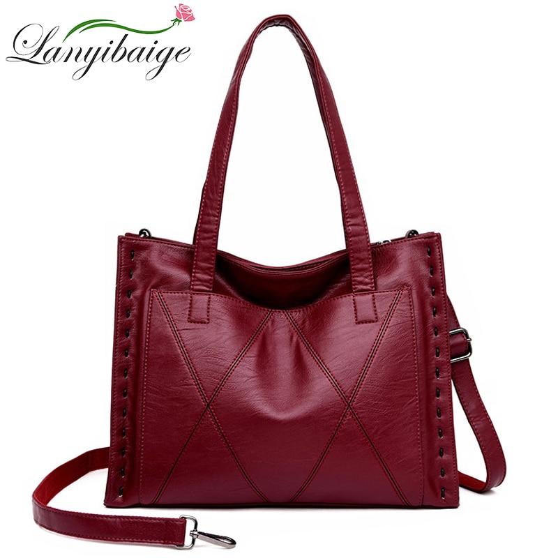 2019 New Thread Women Leather Handbags Vintage Soft Leather Female Crossbody Shoulder Bags Designer Brand Ladies Top-Handle Bags