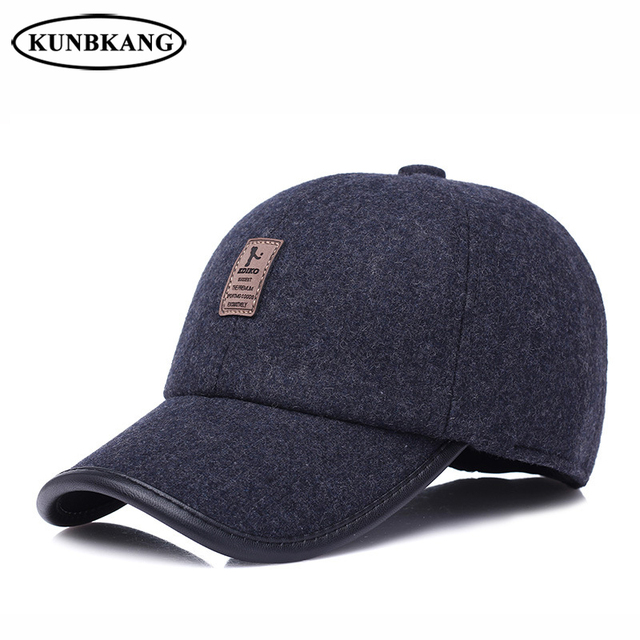 Winter Fashion Golf Hat Men Snapback Dad Cap With Earflaps Casquette Male  Casual Warm Solid Color eeee28d330c