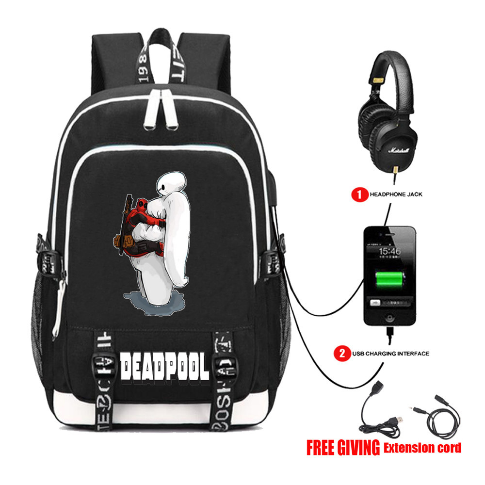 Multifunction USB charging travel backpack Superheros Deadpool Backpack teenagers Men womens Student School Bags 13 style