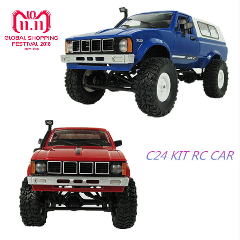WPL C-24 Jeep 4WD RC CAR Remote Control Toy 1:16 Model Car 2.4G OFF-Road RC High Speed Truck KIT Car for Child DIY Car hsp rc car toy 1 8 scale brushless electric car 4wd rtr off road remote control rc car jeep truck high speed item no 94067