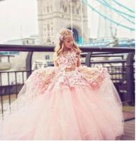 2018 New Pink Lace 3D Flowers Princess Lovely Flower Girl Dresses for Wedding Baby Party Dress Pageant Gown