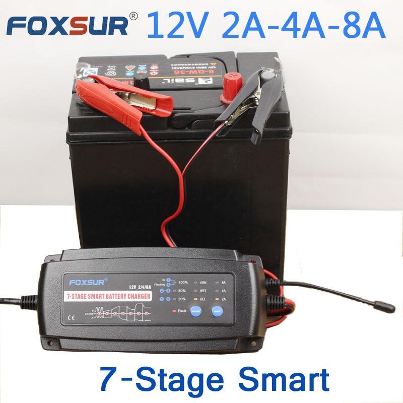 FOXSUR 12 V 2A 4A 8A 7-stage Carregador de Bateria inteligente, Carregador de Bateria de Carro Manutenção & Desulfator para bateria de Chumbo Ácido baterias