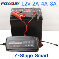 FOXSUR 12V 2A 4A 8A 7 Stage Smart Battery Charger Car Battery Charger Maintainer Desulfator For