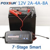 FOXSUR 12 V 2A 4A 8A 7 stage Carregador de Bateria inteligente  Carregador de Bateria de Carro Manutenção & Desulfator para bateria de Chumbo Ácido baterias|Carregadores| |  -
