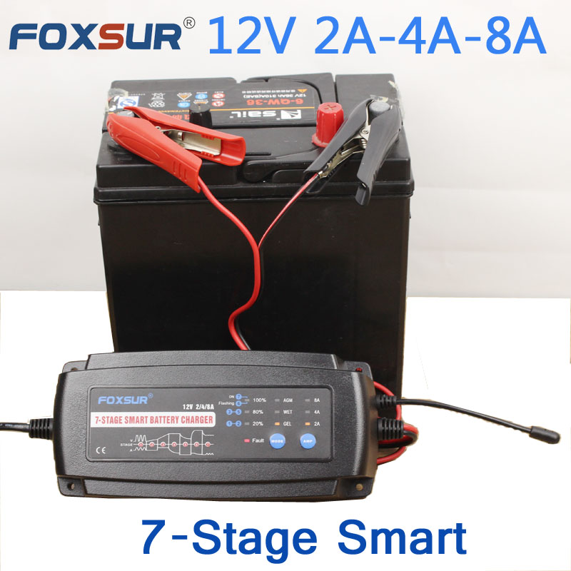 FOXSUR 12V 2A 4A 8A 7-stage smart Battery Charger,Car Battery Charger Maintainer & Desulfator for Lead Acid Batteries 12v 8a smart lead acid battery charger car battery charger negative pulse desulfation car battery battery maintainer