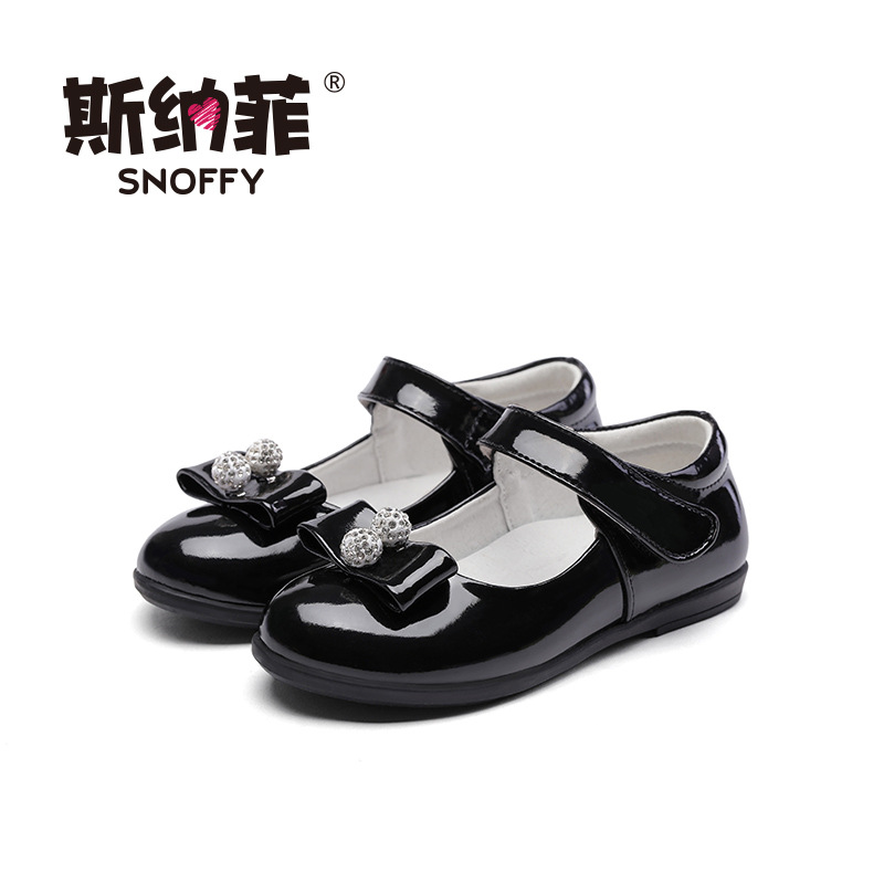 Snoffy 2017 Summer Baby Girls Sandals Fashion Rhinestone Princess Shoes Spring Autumn Black Child Sandals Leather Shoes TX311