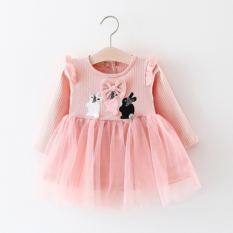 HTB1GkELkMLD8KJjSszeq6yGRpXaw - Baby Dress Long Sleeve Cartoon rabbit Girl  Dress 2018 Fashion Style Children Clothing Cotton ea0e69cbd69f