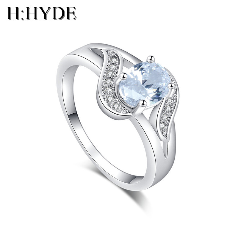 H:HYDE Attractive and sweet Gold Color cubic Zirconia Stone noble jewelry lady party ring size 7-9 for gift anillos mujer