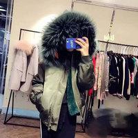 Winter Bombers unisex Black bomber jacket white Green raccoon collar Jacket