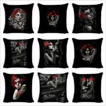 Cushion Cover Cotton Linen Tattoo Princess Girl Printed Decorative Cushion Case for Home Decor Sofa Seat Living Room Pillow Case цена в Москве и Питере