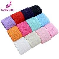 Lucia artesanía 5 yardas/lote 45mm suave cinta de encaje DIY bordado neto de encaje de tela para coser boda decoración 050025082