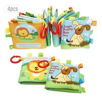 4PCS 0 3 Years Old Baby Cloth Book Baby Toys Infant Teaching Aid Early Education Literacy Books