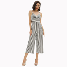 Striped design sling jumpsuit Casual one-piece wide-leg pants Sleeveless Jumpsuit palazzo leg striped cami jumpsuit