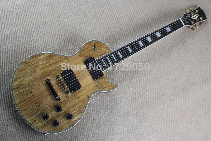 2017 Chinese Factory Custom New Custom Body with Nature Spalted Maple Top Ebony Fingerboard L electric guitar Free Shipping 917