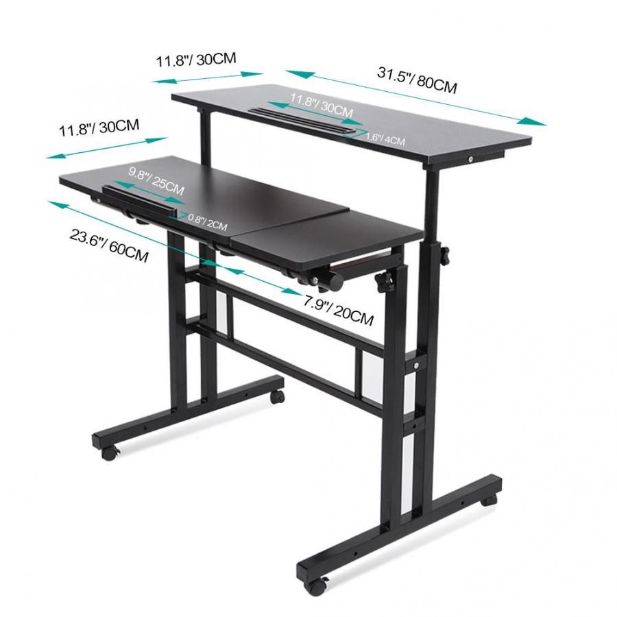 Laptop Desk Table Multi-purpose Height Adjustable Black MDF + Metal
