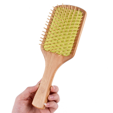 Natural Wood Paddle Pointed Handle Rainbow Teeth Human Massage Hair Brush Airbag Comb J14