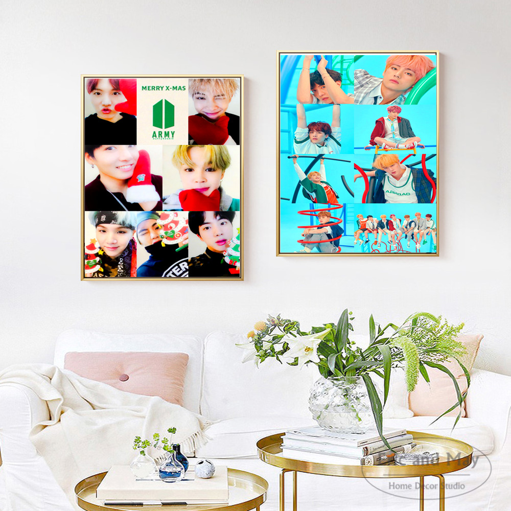 Kpop BTS Korea Singers Figures Posters And Prints Wall Art Canvas Painting For Living Room Decoration Home Decor Unframed in Painting Calligraphy from Home Garden