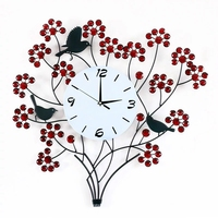 Room 116pcs Diamonds Wrought Iron Silent Tree and bird Clock 60CM 3D Wall Clock Modern Design Home Decor Big Wall Watches Living
