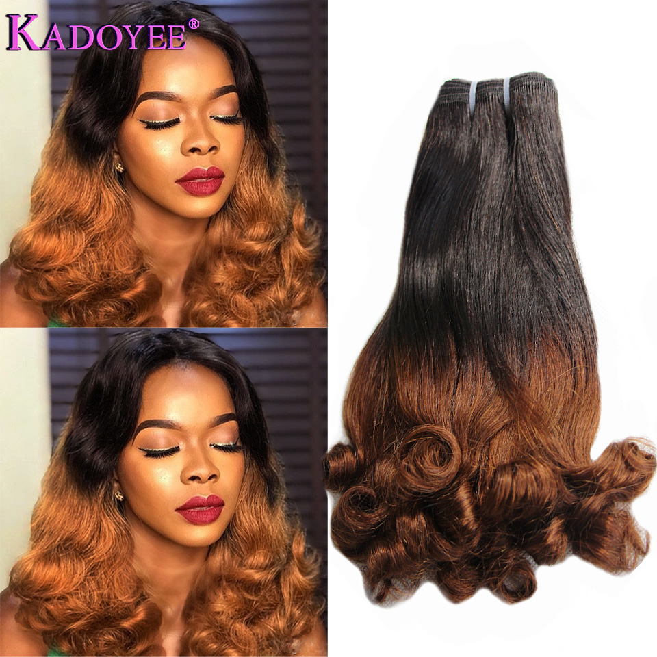 Ombre 1B 30 Brown Human Hair Extensions Bouncy Curly Hair Weft Funmi Double Drawn Hair Weave Bundles for Women Free Shipping