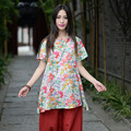 New Women National Wind Plate Buckle Printed Thin Cotton Short Sleeve Shirt Gown
