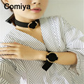 Comiya korean stylish golden silver plated round zinc alloy necklaces for women maxi necklace collares mujer accessories