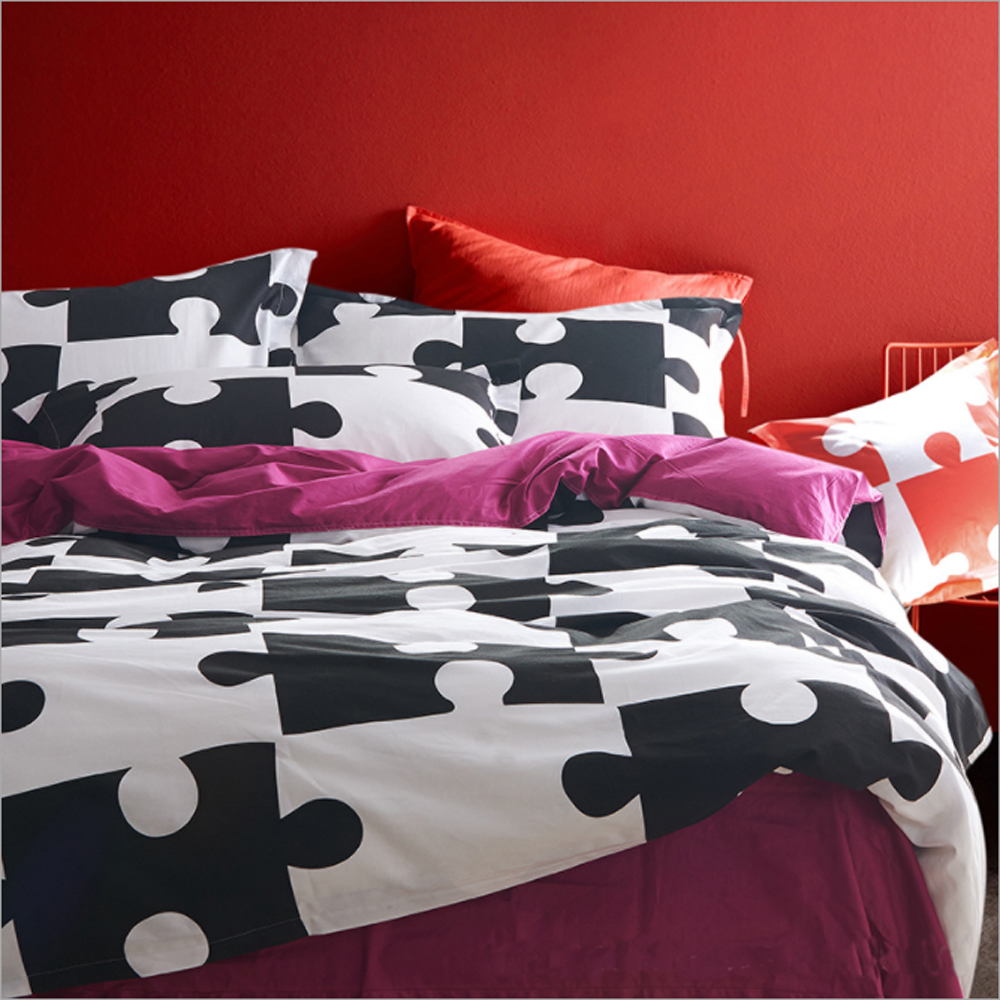 Black and pink bed sheets - 100 Cotton Jigsaw Puzzle Stripes Zebra Heart Shaped Geometric Pattern