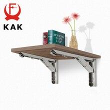 KAK 2 uds. De soporte triangular plegable estante de acero inoxidable soporte ajustable soporte de estante montado en la pared Banco Mesa estante Hardware