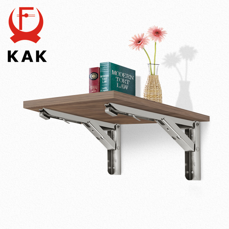 KAK 2PCS Folding Triangle Bracket Stainless Steel Shelf Support Adjustable Shelf Holder Wall Mounted Bench Table Shelf Hardware-in Brackets from Home Improvement