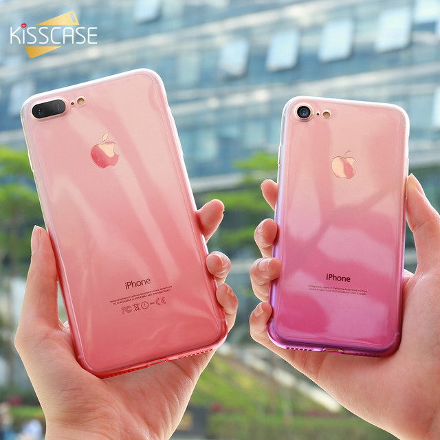 KISSCASE Soft Gradient Silicone Cases For iPhone XS Max XR Ultra Slim Bumper Case For iPhone 5S SE 6S 7 8 Plus X Back Covers
