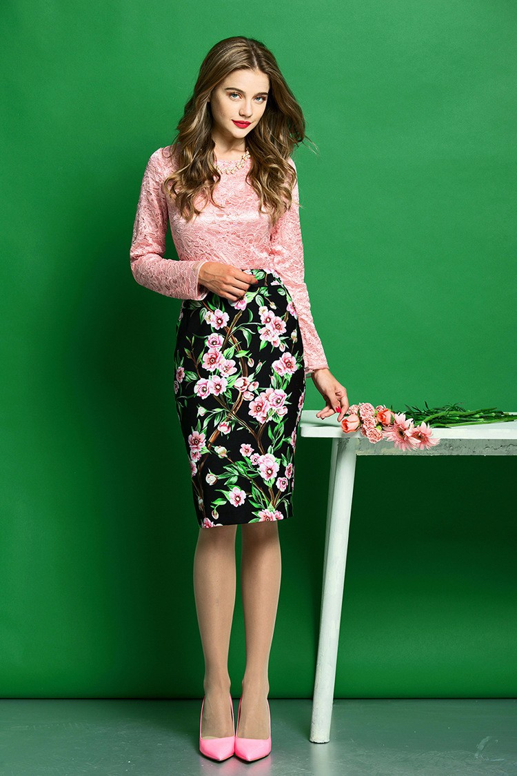 Elegant Women Skirt Suits Long Sleeve Lace Blouse and Floral Print Slim Fit Pencil Skirt Women Business Work Wear (9)