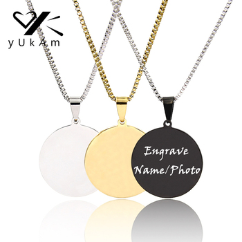 YUKAM Stainless Steel Custom Name Necklace Personalized Women Bar Chokers Necklace Laser Engraved Photo Disc Necklaces Jewelry