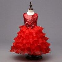 סין יצרני בגדי ילדים ילדי שמלות תחרות שמלות נסיכת נצנצים כחול עבור בנות 4 עד 11 שנים מסיבה וחתונה