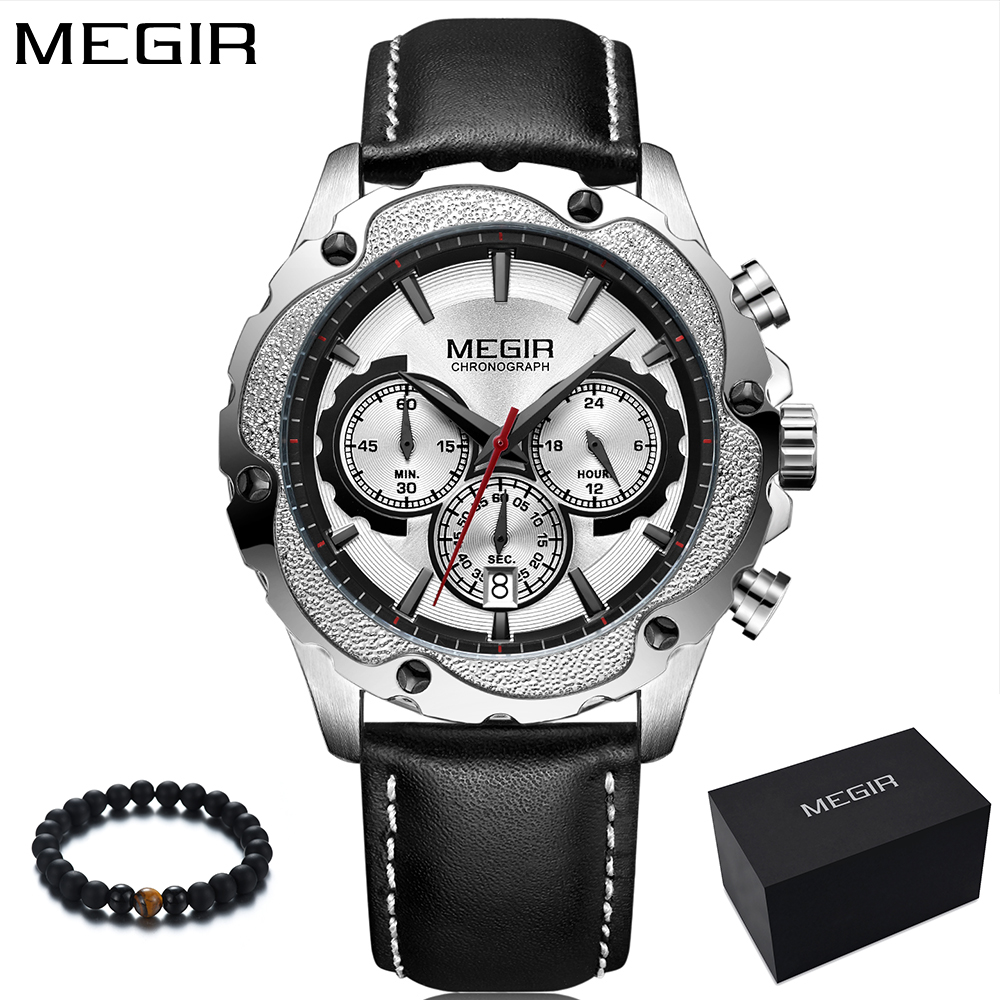 2018 MEGIR Luxury Brand Fashion Quartz Watch Men Sport Military Men Watches Leather Band Chronograph Wristwatch Mens Clock megir fashion watch leather band men quartz watches brand waterproof clock luxury sport man wristwatch army style montre homme