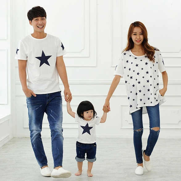 2018 cotton t shirt star mother and daughter clothes son for Matching denim shirt and jeans
