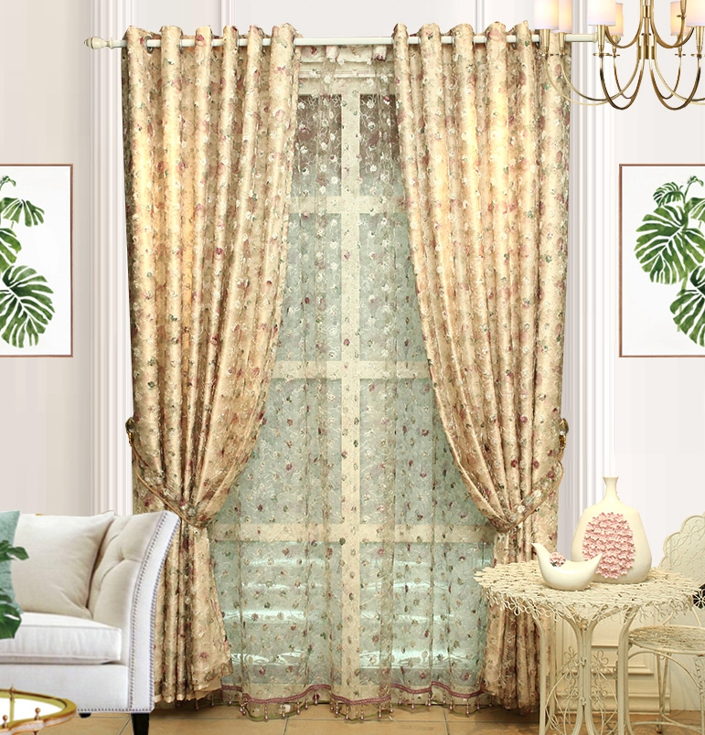Fashion Stripe Rustic Curtain Yarn Bedroom Living Room: The Curtain Of Modern European Style Korean Garden Bedroom