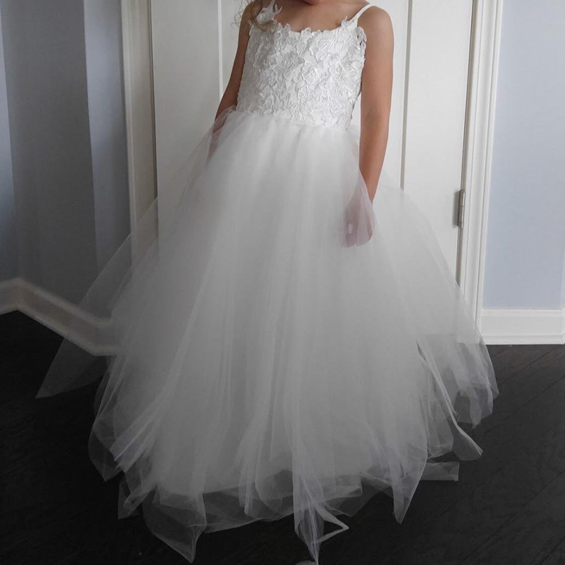 Spaghetti Straps Lace First Holy Communion   Dresses   Tulle Tutu A Line   Flower     Girls     Dresses   for Wedding Party Kids Pageant   Dress