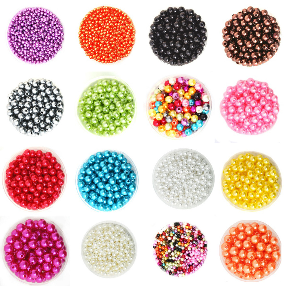 4/6/8/10mm 100-1000pcs/lot Round ABS Imitation Pearls Beads For DIY Bracelet Necklace Jewelry Making Accessories(China)