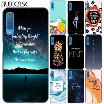 Quotes Floral Unicorn Soft TPU Case For Coque Samsung Galaxy A7 2018 A750 M10 M20 Flowers Cat Pineapple Silicon Cover image