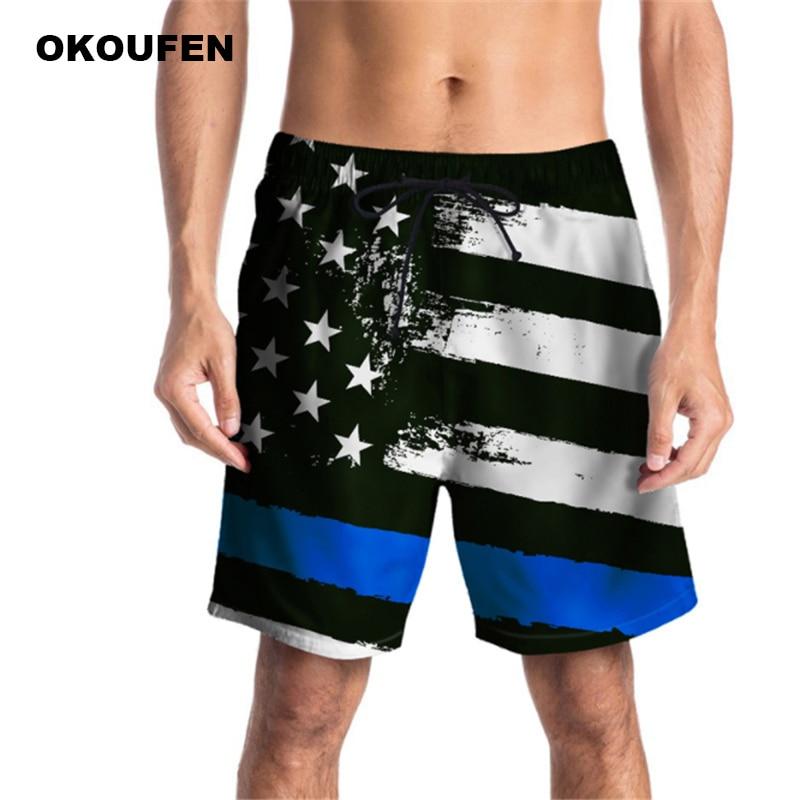 2018 Heißer Verkauf Mens Board Shorts Stern Streifen Banner Drucken Bermuda Masculina Sommer Quick Dry Marke Strand Shorts Männer Drop Verschiffen
