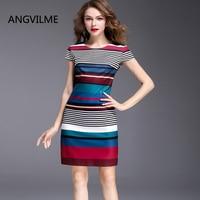 ANGVILME top 2017 Women summer Striped dress many design Silm china style brief elegant stripe good quality plus dress
