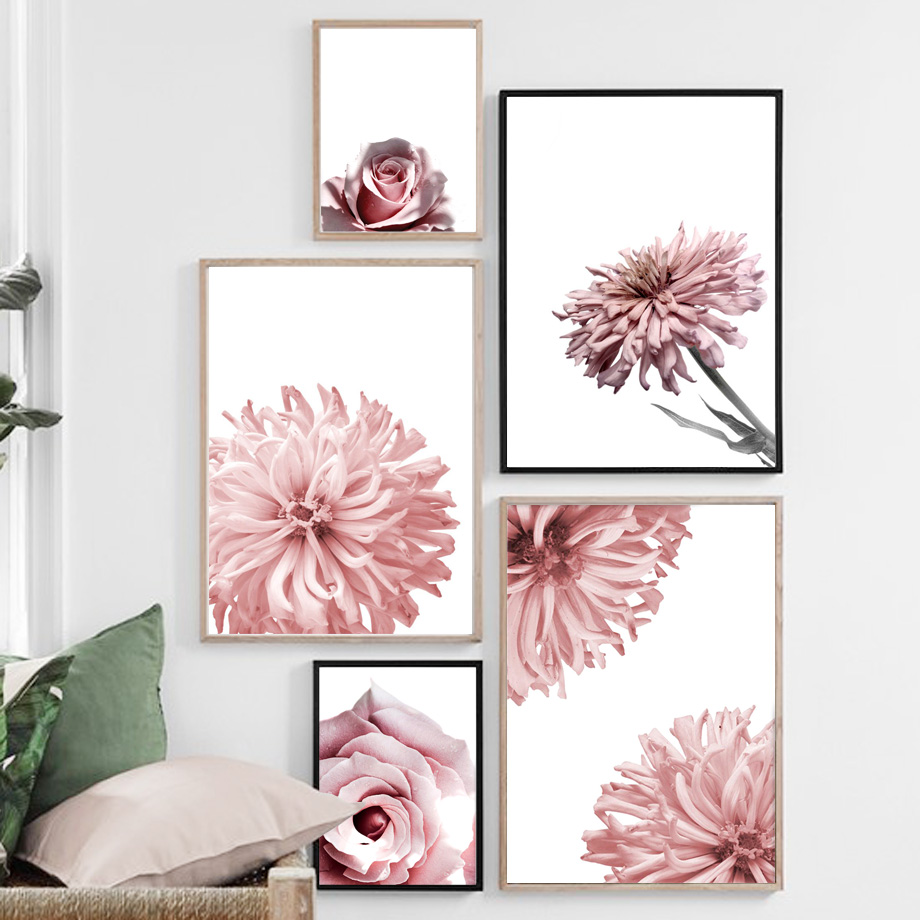 Pink Rose Chrysanthemum Flower Landscape Wall Art Canvas Painting Nordic Posters And Prints Pictures For Living Room Decor